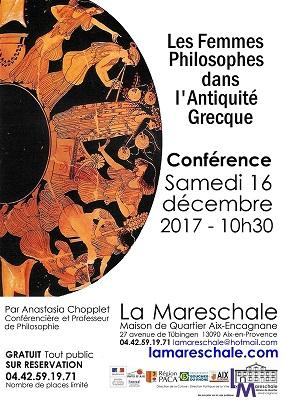 CONFERENCE Samedi 16 décembre 2017 10h30 Les femmes philosophes dans l'Antiquité Grecque par Anastasia Chopplet