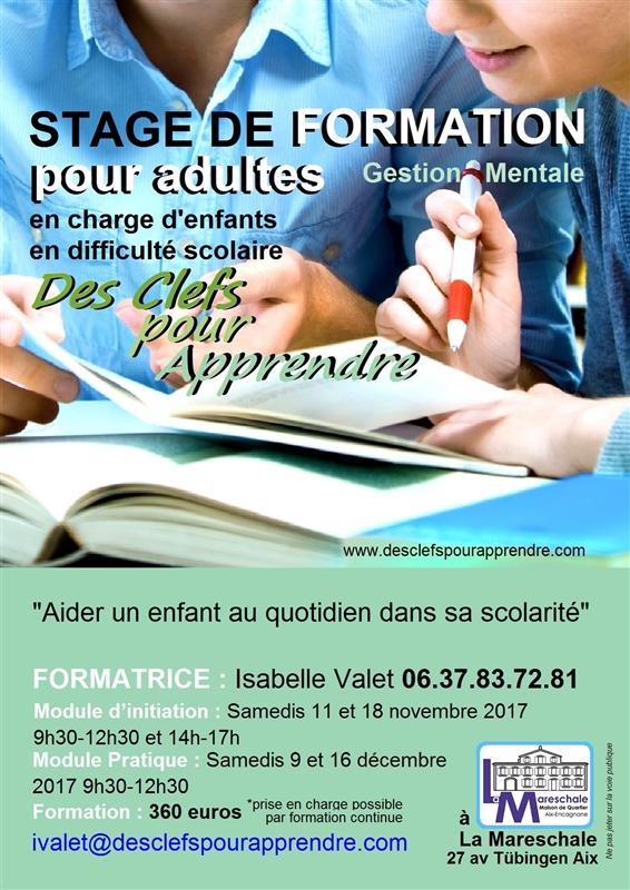 STAGE DE FORMATION pour adultes en charge d_enfants en difficulté scolaire 2017