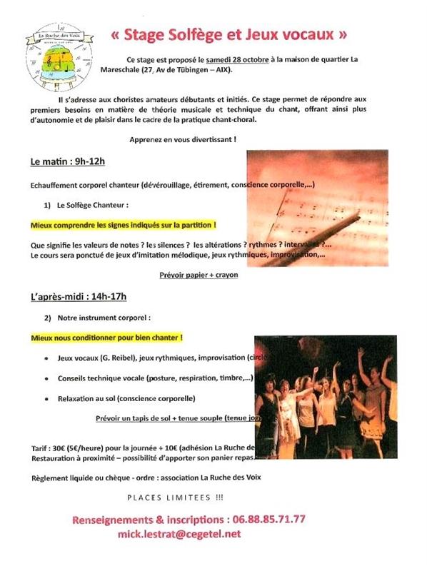 STAGE SOLFEGE ET JEUX VOCAUX Samedi 28 octobre 2017 9h-17h