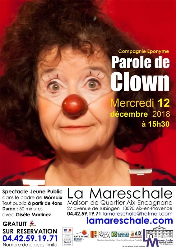 MOMAIX Parole de Clown mercredi 12 décembre 2018 15h30 cie Eponyme