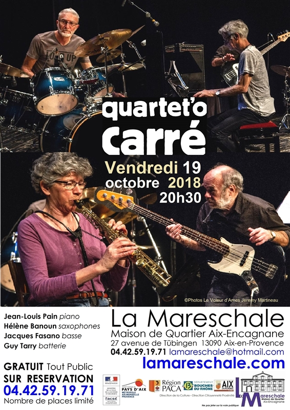 CONCERT JAZZ Quartet_O Carré Vendredi 19 octobre 2018 20h30