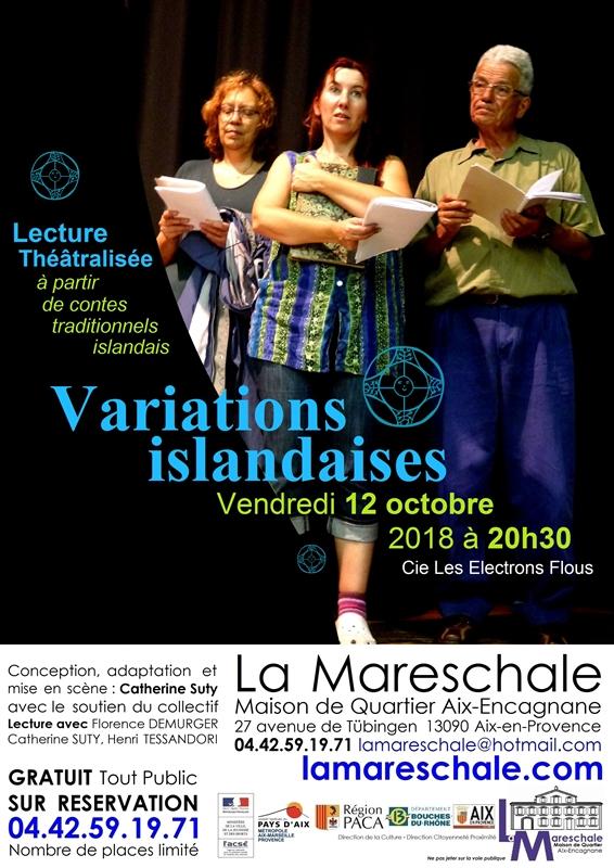 LECTURE THEATRALISEE Variations Islandaises cie Les Electrons Flous Vendredi 12 octobre 2018 à 20h30